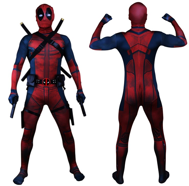 Drop Shipping Universe Classic Muscle Chest Deadpool Costume Full Bodysuit Zentai Suits Kids 3D Style Cosplay Hood Separated