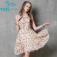 Vestidos Femininos 2016 Yuzi May Boho New Summer Dress Cotton Linen Sleeveless Belted Flower Print Slim
