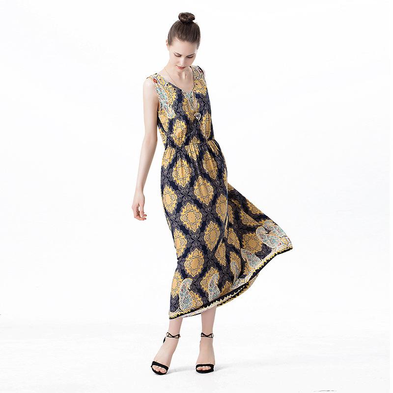 Summer New 19th Century Dress Cashew Nuts Floral V Neck Sleeveless ... a3dd1af1b6da