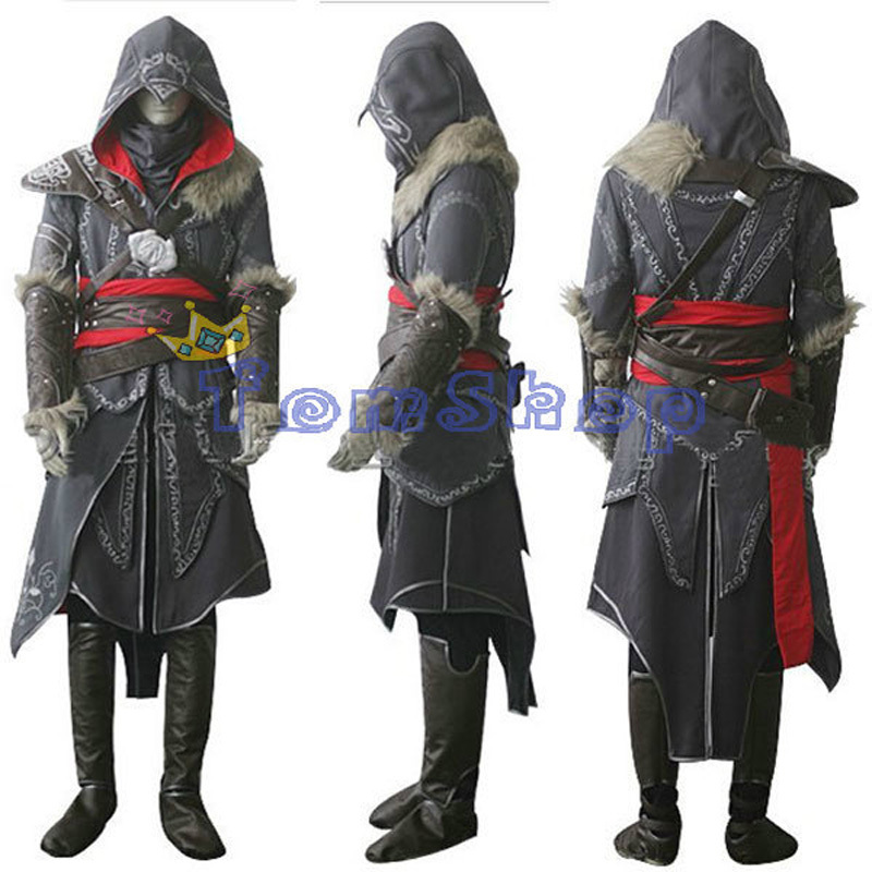 Assassin's Creed Revelation Ezio Thick Denim Cosplay Halloween Men Costume Express shipping