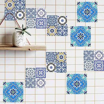20pc 10/15/20cm DIY Mosaic Wall Tiles Stickers Waist Line Wall Sticker Kitchen Adhesive Bathroom Toilet Waterproof PVC Wallpaper