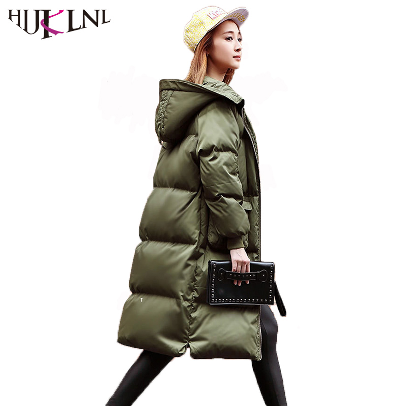 HIJKLNL Korean Stylw Women Winter Down Jacket Puffer Jacket 2017 Hooded Loose X long Duck Down