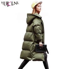 HIJKLNL Korean Stylw Women Winter Down Jacket Puffer Jacket 2017 Hooded Loose X-long Duck Down Coat  Tide Parkas Mujer NA342