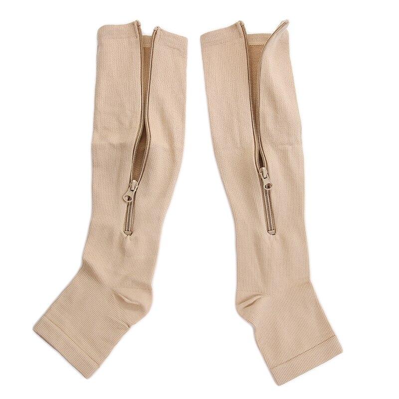 Underwear & Sleepwears Lkwder 1 Pair Unisex Compression Socks Zipper Leg Support Knee Socks Women Men Open Toe Thin Anti-fatigue Stretchy Sox Socks Men