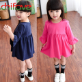chifave 2015 Autumn New Korean Girls Cute Dress Flare Sleeve Dress for Baby Girls Three Quarter Kids Hot Selling Dress 4 Colors