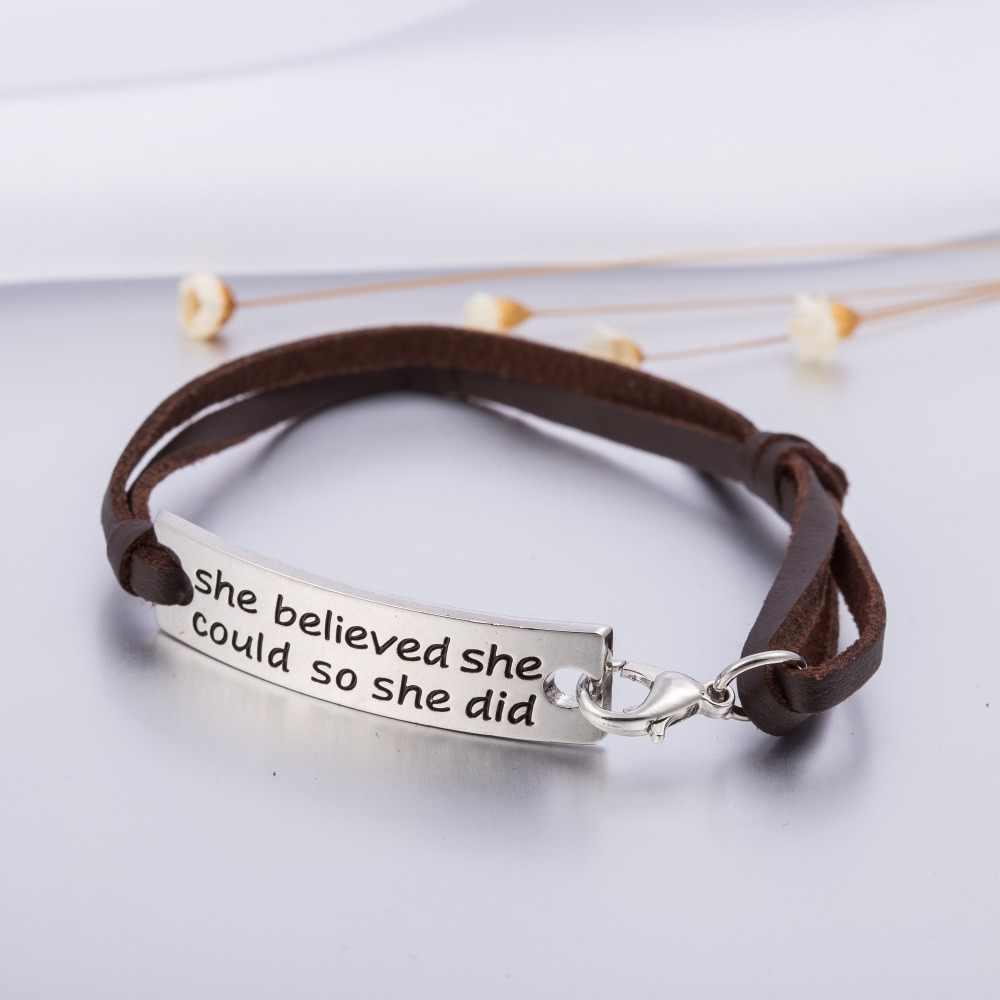 Моя форма вдохновляющая Цитата Выгравированный кожаный браслет она верила, что она может так она сделала ручной работы модный прямоугольный браслет