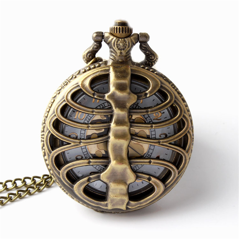 Retro Bronze Steampunk Spine Ribs Skeleton Hollow Quartz Pocket Watches Men Women Necklace Pendant Clock Gifts Reloj De Bolsillo