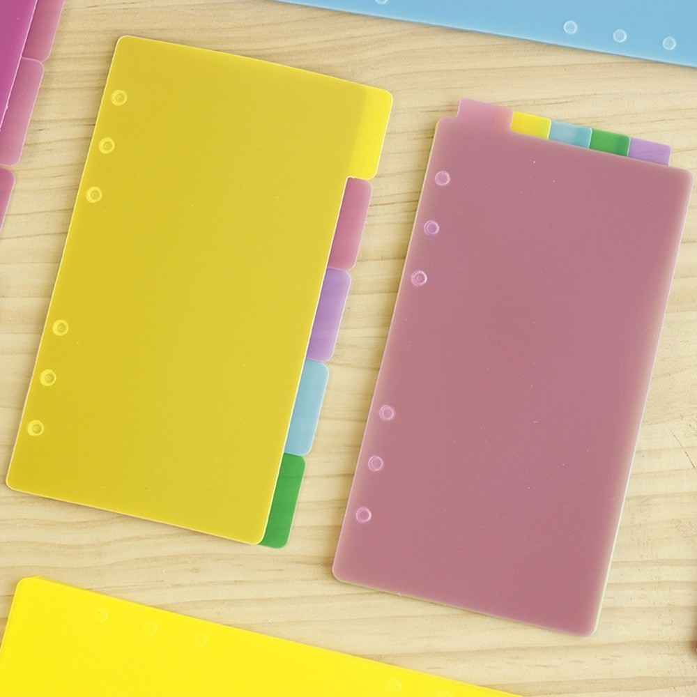 5 PCS/LOT Colorful Transparent PP Separator For Rings Notebook 6-hole Index Page A5 A6 Loose Leaf Diary Categories Clapboard Lahore