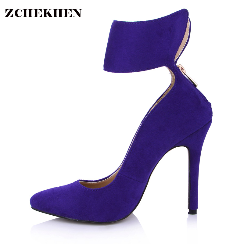 Top Quality Women High Heel Shoes Ladies Pointed Toe 12cm Ankle Strap Party Wedding Shoes Stiletto Navy Blue Pumps SMR0640-6a craylorvans top quality 8 10 12cm women pumps new fashion leopard color pointed toe high heel wedding shoes ultra thin high heel