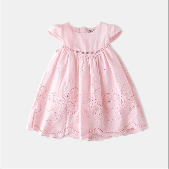 Baby Girl Dress 2018 New Kids Cotton Embroidey Dresses White Pink Princess Dress Belle Girls Clothing Children Clothes