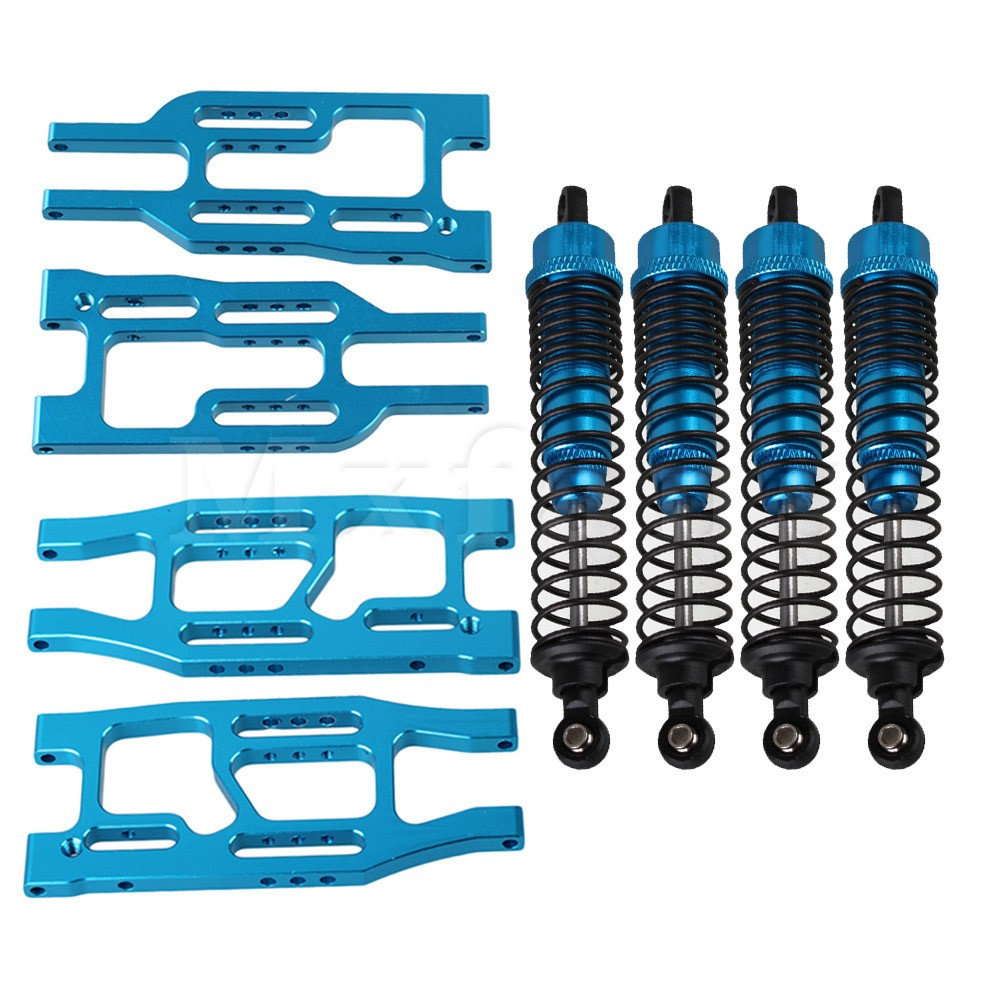 ФОТО Mxfans 8x Blue Upgrade Front /Lower Suspension Arm&Shock Abosorber for HPI RC1:10 Truck