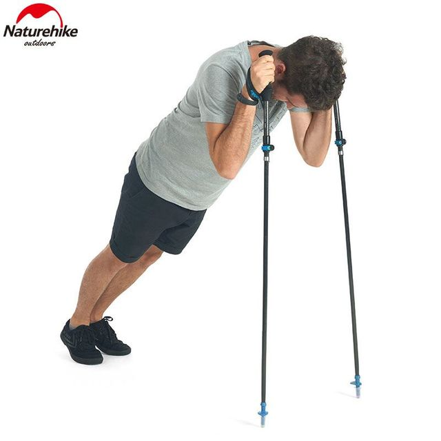 Naturehike 175g High Toughness Ultralight Carbon Fibre Folding Walking Stick externally locked telescopic Hiking Stick