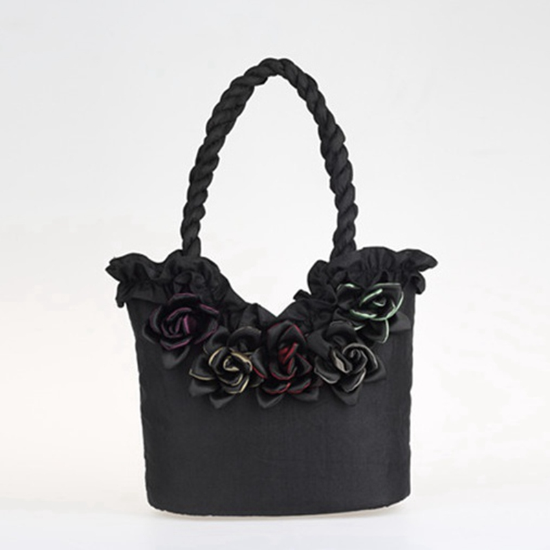 2017 Large Capacity luxury ladies handbags women Gothic Lolita bags vrouwen handtas Shoulder Bags Satin Tote L953
