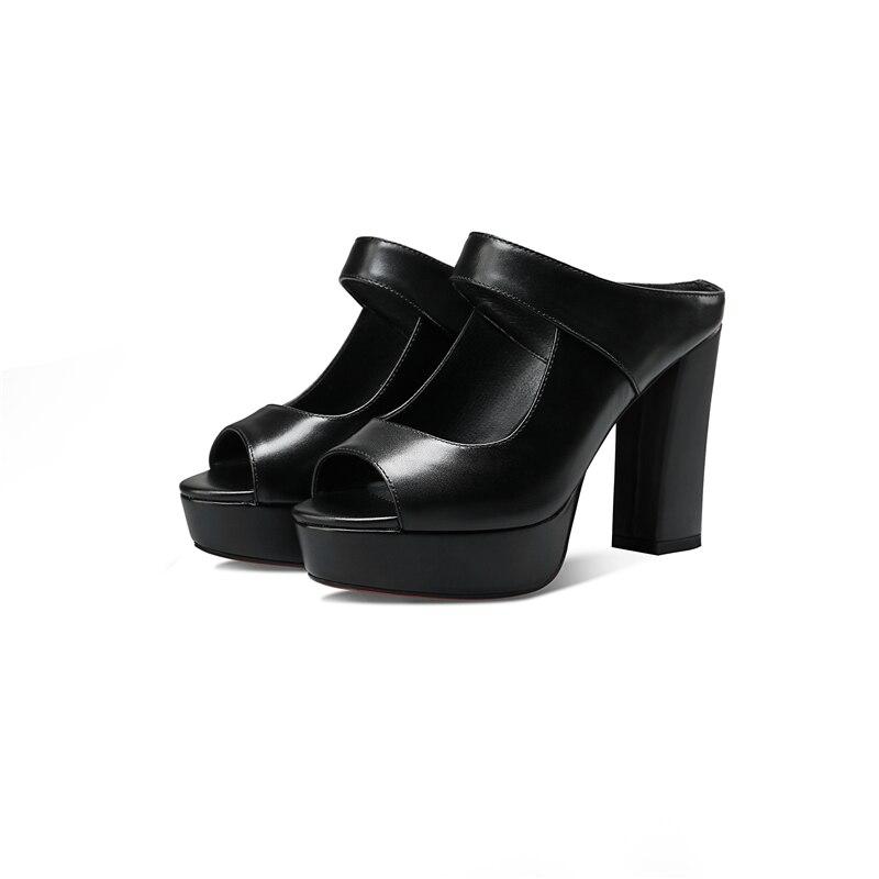 BONJOMARISA 2018 Dedo Abierto de Cuero Genuino de Las Mujeres Tacones - Zapatos de mujer - foto 5