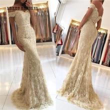 Yellow Lace Mermaid Evening Dress 2019 Off Shoulder Robe Soiree Longue Femme Abiti Da Cerimonia Donna Vestidos De Festa Longo