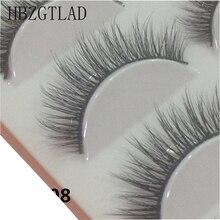 Hbzglad pestañas postizas hechas a mano, 5 pares, 3D, maquillaje diario largo y grueso Natural, pestañas cruzadas gruesas
