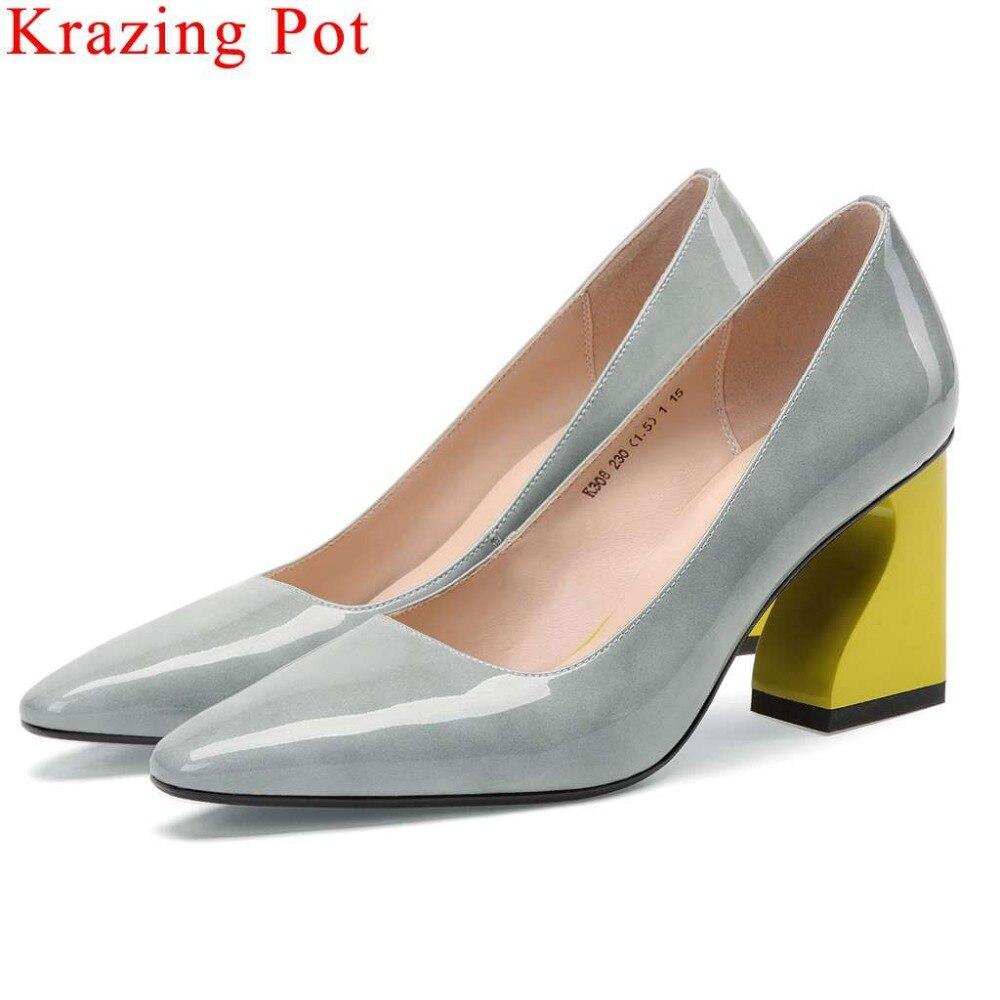 Krazing Pot cow leather European superstars high heels slip on women pumps classic square toe office