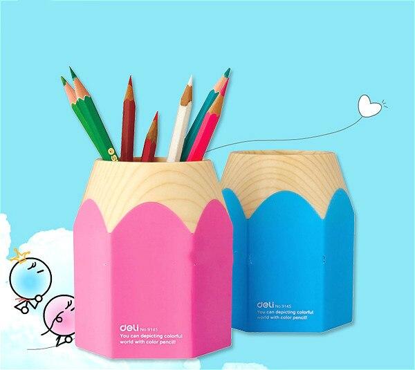 Deli 9145 students pencil pen cartoon creative pen pen holder deli 9145 stylish pc pencil pen holder deep pink wood
