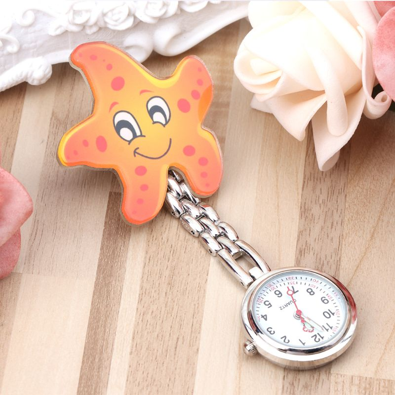 Nurse Watch Starfish Hospital Medical Watches Vintage Chest Pocket Watch Acrylic Cartoon Hanging Clip Quartz Watches