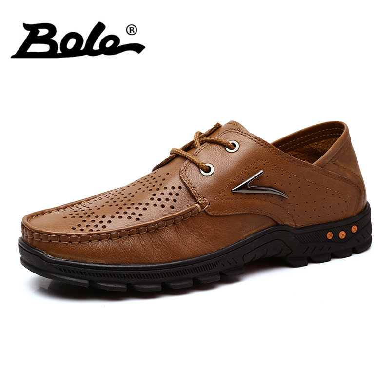 BOLE New Punching Breathable Men Genuine Leather Shoes Fashion Walking Wear-resistant Shoes Men Flats Handmade Moccasins Shoes cbjsho brand men shoes 2017 new genuine leather moccasins comfortable men loafers luxury men s flats men casual shoes