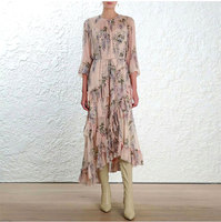 100% Silk floral print women long sleeve ruffle frill mid dress and slip 2 piesce set
