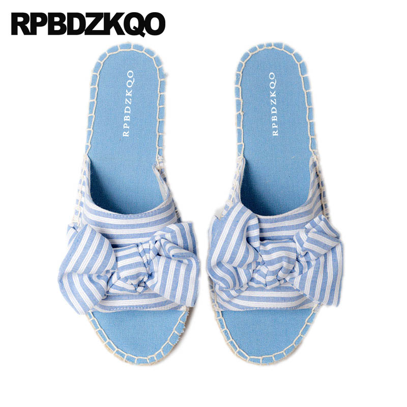 3e4da699524e0 Detail Feedback Questions about Slippers Jeans Slides Slip On Blue Denim  Espadrilles Shoes Bowtie Rope Women Sandals Flat Casual Cute Beach Kawaii  Canvas ...