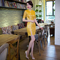 Free Shipping Lace Qipao Chinese Traditional Clothing Cotton Cheong-sam Dress For Women Gold Vintage Dress