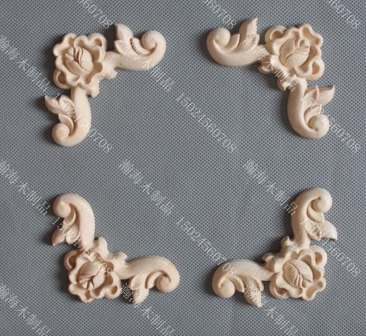 4PCS/LOT  10x10cm European Furniture Carved  Decals Decorative Wardrobe Drawer Applique Flower
