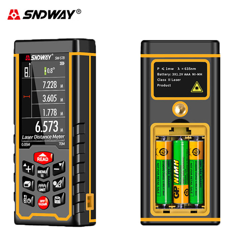 SNDWAY SW S50 70 100m Color Screen Rechargeable Laser Distance Meter Range Finder Rangefinder Tape Trena