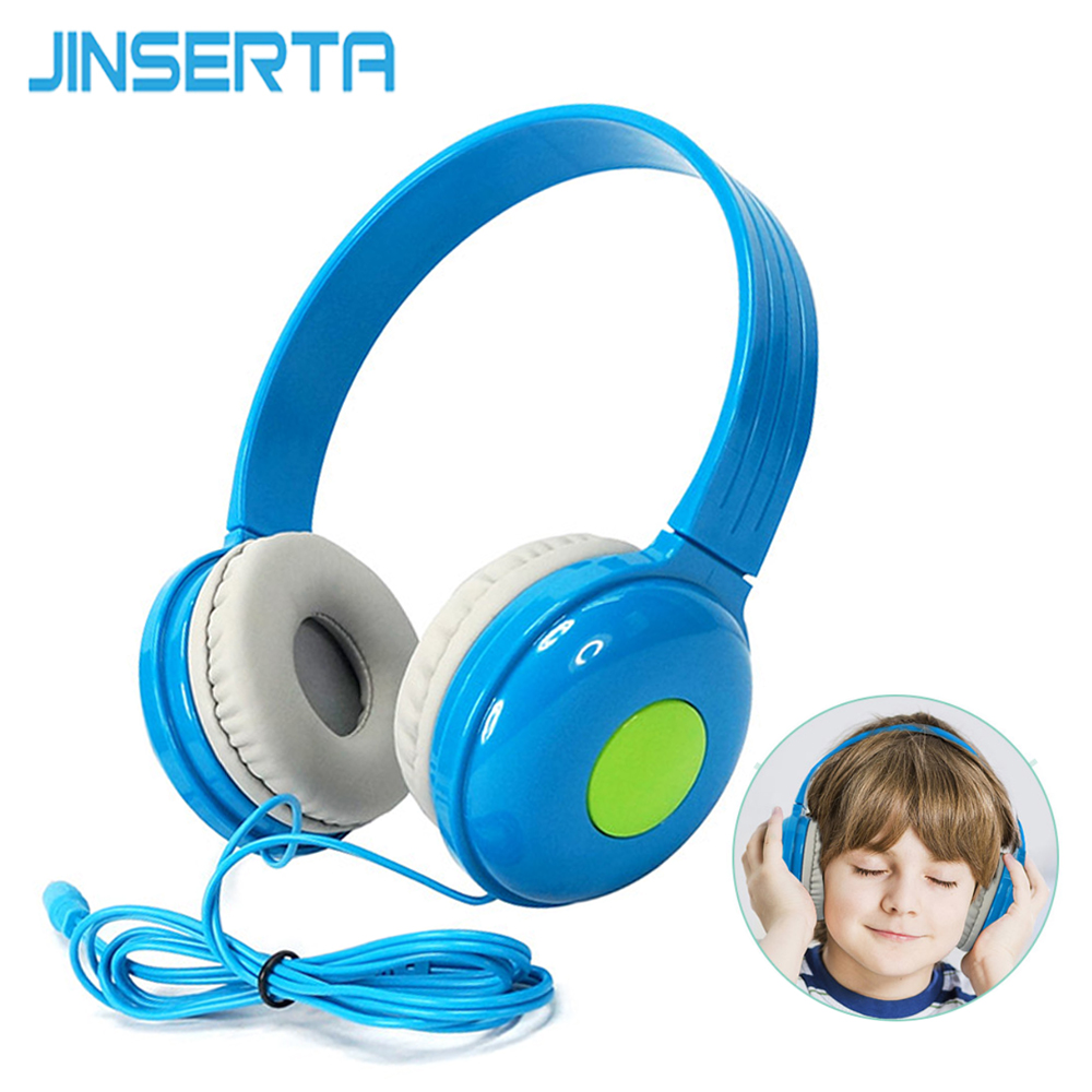 JINSERTA Wired Kids Headphone Adjustable Safe Childern Over-Ear Headset for Xiaomi Mobile Phone iPhone Samsung Smartphone