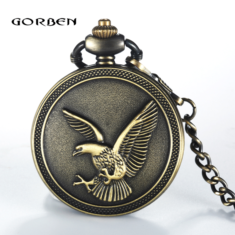 2017 Antique Eagle Quartz Pocket Watch Steampunk Men Women Retro Bronze Pocket Watches Fob Chain Necklace Pendant Vintage Gifts steampunk antique silver mechanical skeleton pocket watch mens women watches vintage hollow pendant chain clock gifts retro