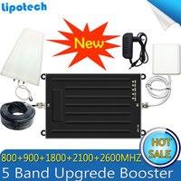 Lintratek New 5 Band 800/900/1800/2100/2600mhz Signal Booster GSM 3G UMTS 4G LTE B1/B3/B7/B8/B20 Repeater Amplifier 4G Antennas
