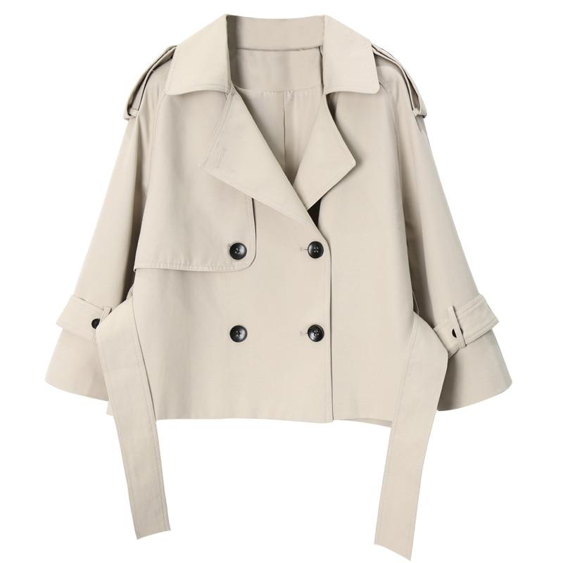 spring autumn high quality double breasted women windbreaker short tie feminine coat trench coat temperament cardigan