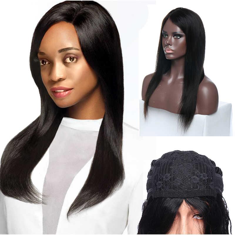 SEGO прямые человеческие волосы парики с челкой полный машинные парики натуральные волосы парики для женщин # 1B бразильские волосы нет кружева парики