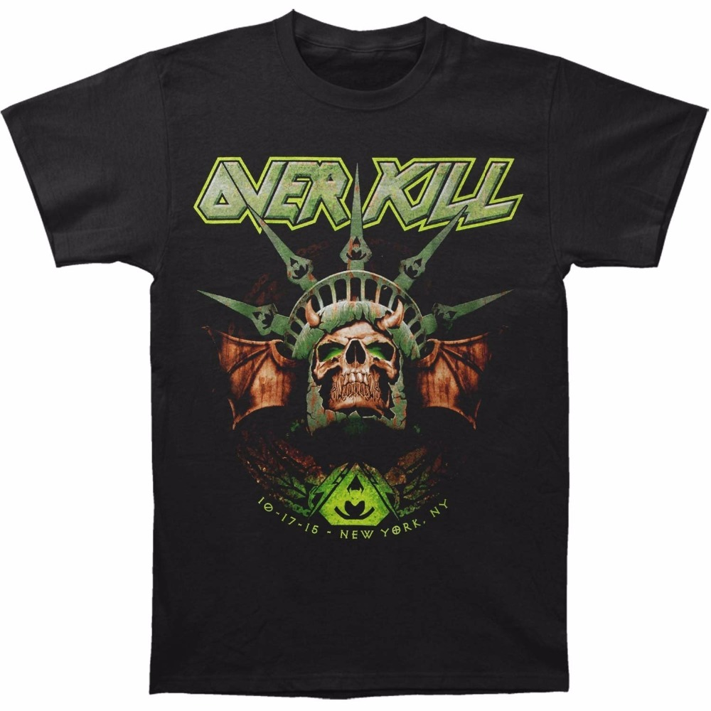 Top Quality Cotton Casual T Shirts Free Shipping Short Overkill Men's Nyc 2017 T-Shirt Black Crew Neck Summer Tee Shirt For Men
