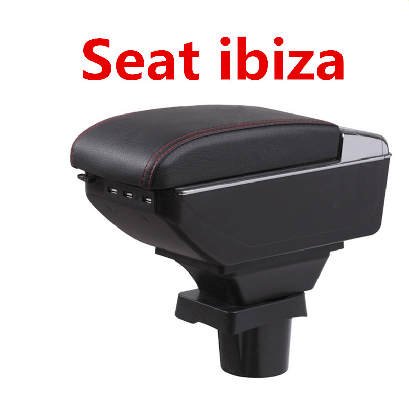 For Seat ibiza armrest box central Store content Storage box Seat armrest box with cup holder ashtray USB interface for chery tiggo 2 3x 2016 2017 2018 armrest box central store content box with cup holder ashtray decoration with usb interface