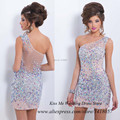 Luxury Rhinestones Colourful Crystals Cocktail Dresses 2015 one Shoulder Short Dress for Party Over Vestido de Festa Curto