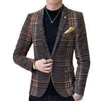 2018 fashion new men's casual boutique business dress suit / Man's houndstooth grid plaid blazers jacket coat suit