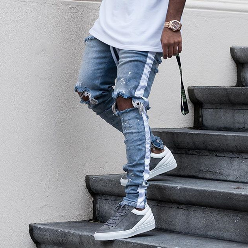 Men's Jeans Knaye West Fear of God Hip Hop Denim Hole Jeans Men Streetwear Slim Fit Casual Jogger Full Length Retro Pencil Pants euramerican style baggy hip hop men jeans widened increase skateboard pants comfortable mid waist casual mens streetwear jeans