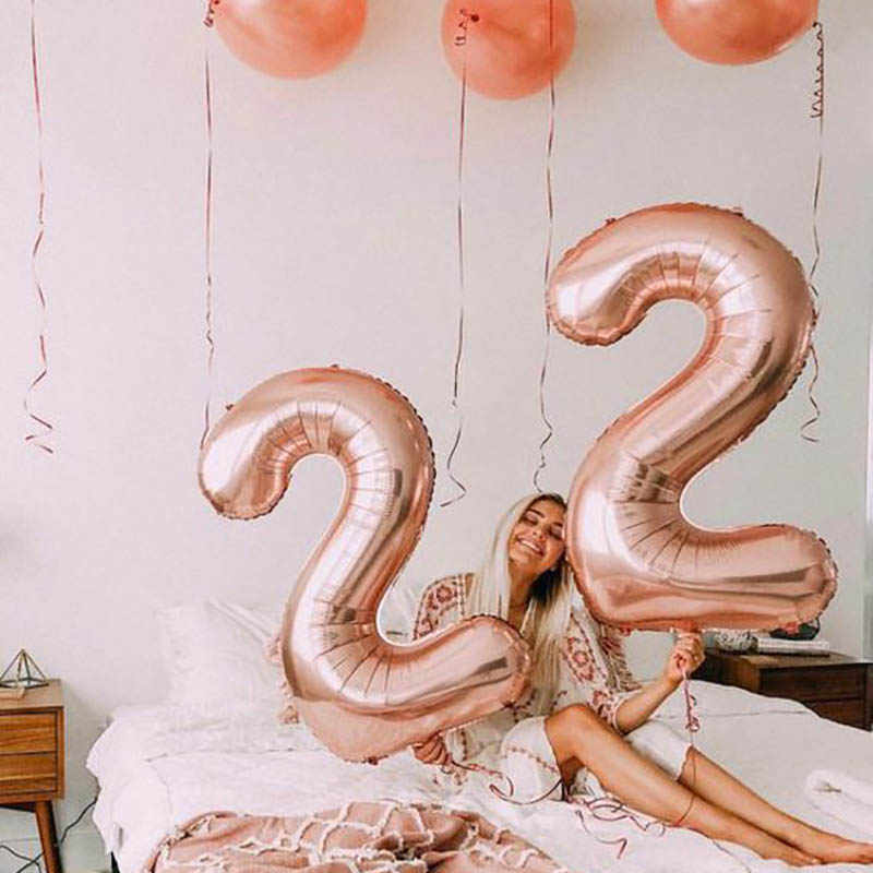 2pcs 32 Or 40 Inch Happy 22 Birthday Foil Balloons Pink Gold Number 25th Years Old
