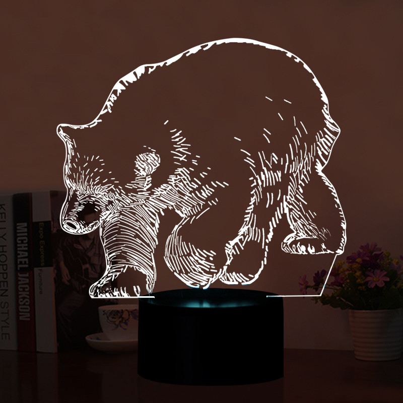 3D Animal Polar Bear Shape Table Lamp LED Home Decoration Kid Bedroon Night Light Touch Switch Lamp Color Changing Mood Lighting free shipping 1piece new arrive marvel anti hero deadpool figure light handmade 3d bulbing illusion lamp led mood light for kid