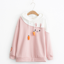 Japanese Women Hoodies Anime Lovely Pullover Kawaii Rabbit Sweatshirt Tracksuit Cute Bunny Graphic Outerwear Pink Black Hoodie