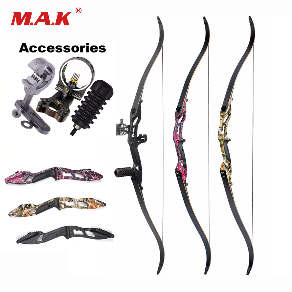 3 Color 30-50lbs Recurve Bow 56 Inches American Hunting Bow with 17 inches Riser for Traditional Long Bow Archery Hunting 3 color 30 50lbs recurve bow 56 american hunting bow archery with 17 inches metal riser tranditional long bow hunting