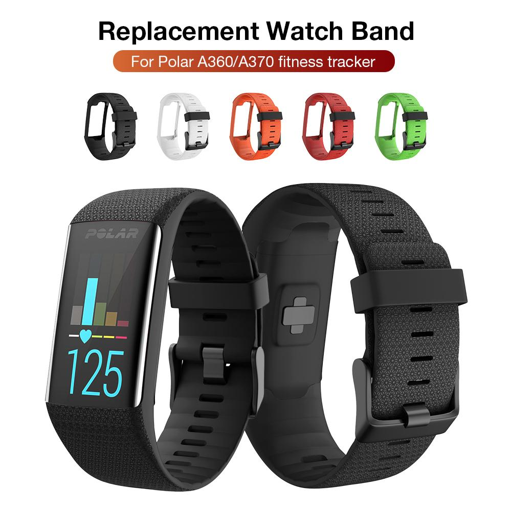 Silicone Replacement Strap Black Buckle Wristband Watch Band For Polar A360 A370 GPS Smart Watch Smart Bracelet
