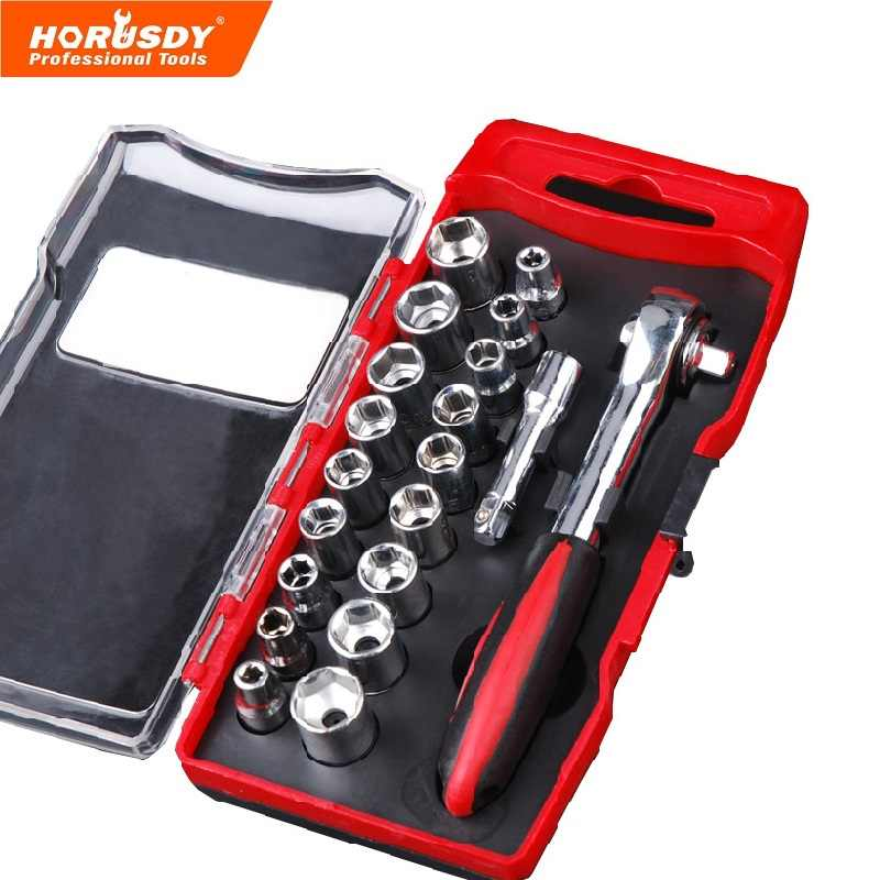 HORUSDY 20/Set Ratchet Socket Wrench Car Repair Tool Set Mini Torque Allen Key Repair Tool Quick Release Car Repair Hand Tools