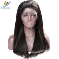 Sevengirls Straight Brazilian Virgin Hair Nature Color 100% Human Hair 360 Lace Frontal Wig For Black Women Free shipping