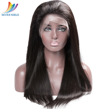 цены Sevengirls Straight Brazilian Virgin Hair Nature Color 100% Human Hair 360 Lace Frontal Wig For Black Women Free shipping