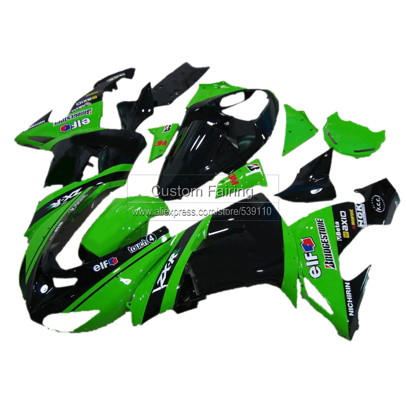 Green ABS Plastic fairing kit for Kawasaki ZX10R zx - 10r 2007 2006 Ninja glossy decals 07 06 fairings xl12 motorcycle unpainted abs fairing kit for kawasaki zx 10r zx10r 2011 2012 11 12 fairings kits front nose bodywork pieces