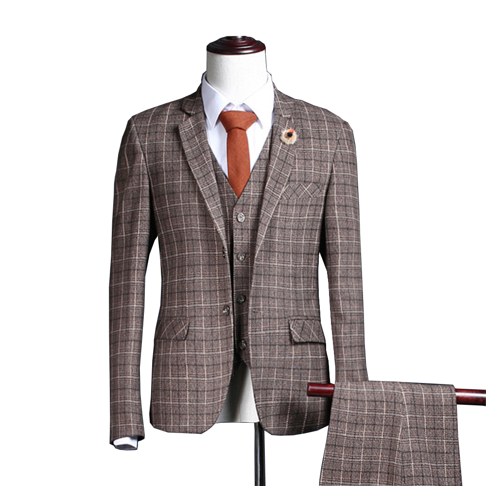3 Pieces Mens Suits Plaid Slim Fit Wedding Suits Groom Tweed Wool Brown Tuxedos For Wedding (Blazer+Pants+Vest+Tie)