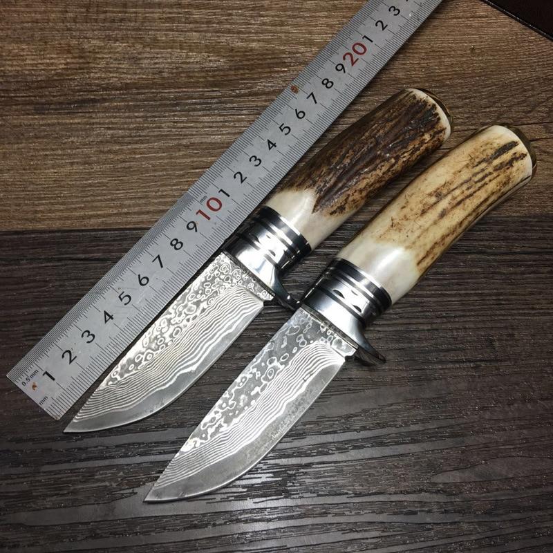 100% Handmade Damascus Steel Genuine Hign Quality Damascus Steel Hunting Knife Fixed Knife  Antler  Handle Gift Packing